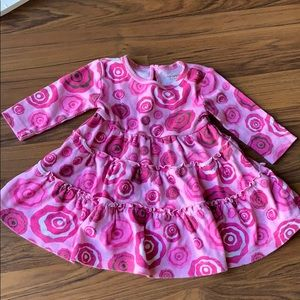 Baby girl Button back ruffle long sleeve dress